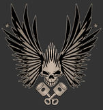 Skull Wings and Crossed Pistons Illustration. Awesome winged skull with crossed pistons vector design Royalty Free Stock Image