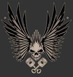 Skull Wings and Crossed Pistons Illustration vector illustration