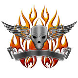 Skull with Wings Flames and Banner Stock Images