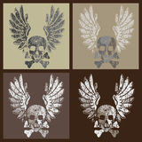 Skull and wings in grunge style. Stylized vector illustration of a skull and wings in various colors Royalty Free Stock Photography