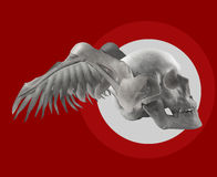 Skull with wings on red composition. Stock Photo