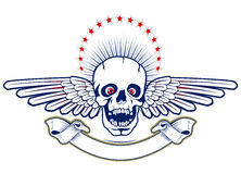 Skull with wings and ribbon Stock Photo