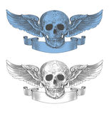 Skull with wings and ribbon in vintage engraving style Stock Image