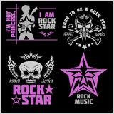 Skull and wings for rock music festival - logo, illustration, t shirt printing on a dark background vector illustration