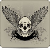 Skull with wings and roses, hand-drawing. Vector i Royalty Free Stock Photo