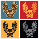 Skull and wings. Stylized vector illustration of a skull and wings in various colors Royalty Free Stock Photo