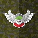 Skull with wings to take. Military emblem. Label on the form Stock Photo