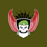 Skull with wings to take. Military emblem. Label on the form Royalty Free Stock Images