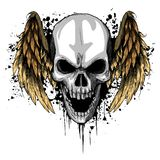 A human Skull with Wings Vector Illustration stock illustration
