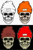 Skull Winter hat Hand Drawing With 4 variation Color Stock Photos