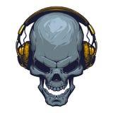 Skull With Headphones Stock Photos