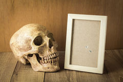 Skull and wood frame still life on wood background. Photo stock images