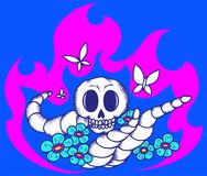 Skull worms flowers fire3. Vector image consisting of skull, worms, flowers and fire Stock Images
