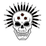 Skull 2. Skull with a wreath of ammunition cartridges Royalty Free Stock Image