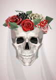 Skull with wreath and veil Stock Photography