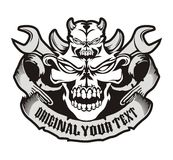Skull wrench emblem Royalty Free Stock Images