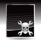 Skull and wrench template background Stock Photo