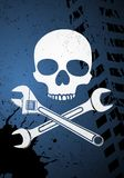 Skull with wrenches Royalty Free Stock Photography