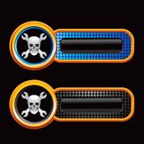 Skull and wrenches on checkered banner templates Royalty Free Stock Images