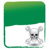 Skull and wrenches on green background Stock Photography