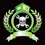 Skull and wrenches in green royal display Stock Images