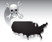 Skull and wrenches over united states icon Royalty Free Stock Photography