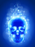 Skull x-ray, blue background & lights Stock Images