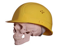 Skull with yellow helmet Royalty Free Stock Photo