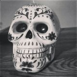 Skullcandy candle BNW. Skull candy candle in black & white Royalty Free Stock Image