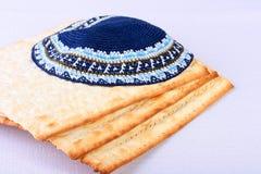 Skullcap. The Jewish theme, skullcap - a headdress and matza - an unleavened bread Royalty Free Stock Photos
