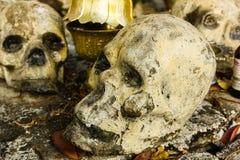 Skulll humain dans le temple Photo libre de droits