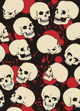Skulls. Seamless pattern with skulls and blood drops Stock Photo