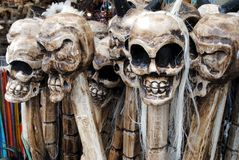 Skulls. Carved skulls on walking sticks Royalty Free Stock Photo