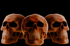 Skulls. Artistic image. Human skulls, front and side view on black background Stock Photos