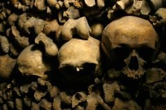 Skulls. And bones in old catacombs stock photography