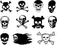 Skulls. Black skulls on white background Royalty Free Stock Photos