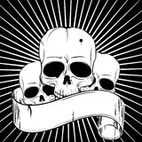 Skulls. And ancient banner on black background Royalty Free Stock Image