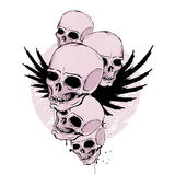 Skulls. With wings on grunge background Royalty Free Stock Image