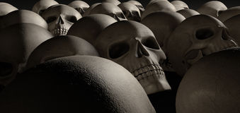 Skulls Array Perspective Dark Stock Photo