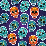 Skulls background to dead of the dead event. Vector illustration stock illustration
