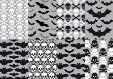 Skulls and bats, seamless pattern, vector Royalty Free Stock Photos