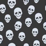 Skulls on Black. Seamless Pattern. Endless Texture Stock Images
