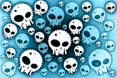 Skulls blue background Royalty Free Stock Photo