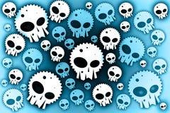 Skulls blue background. White skulls on blue background royalty free illustration