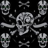 Skulls Bone Cross & Ribbon Stock Photo
