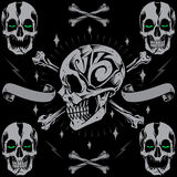 Skulls bone cross & Ribbon. In Old school Tattoo Style vector for use Stock Photo