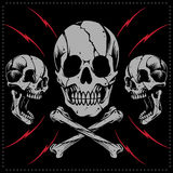 Skulls and bone cross vector. Skulls Old school Tattoo Style royalty free illustration