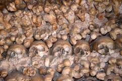 Skulls and bones. Human skulls and bones lining a chapel in Portugal Royalty Free Stock Image
