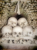 Skulls and bones. At bones church in Prague Stock Photos