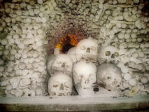 Skulls and bones. At bones church in Prague Royalty Free Stock Photos